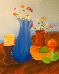 acrylic still-life painting by a child student, Oct. 2017