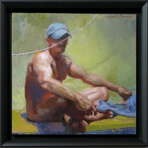 painting of nude man seated wearing blue hat and rope suspended before him in a green background