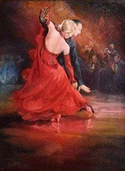 painting of a ballroom dancing couple in the spotlight on the dance floor with a jazz band playing behind them