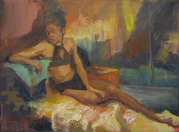 painting of a young black woman lounging in a colorful setting
