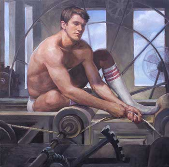 painting of semi-nude male wearing tube socks looking as if he is sleeping while guiding a rope through a crank pulley