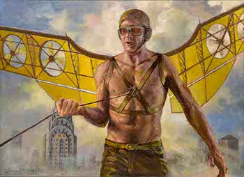 painting of man wearing steampunk wings and goggles with Chrysler Building behind him