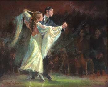 painting of a ballroom dance couple Waltzing before an audience