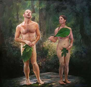 painting of a Adam and Eve standing apart as they cover their genitals with leaves