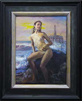 painting of a two-legged nude mermaid with an oil rig on the sea's horizon