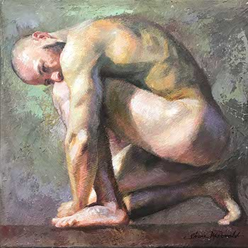 painting of a nude male kneeling with his hands on the floor and head down