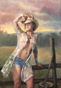 painting of a female cowgirl wearing a blue-jean shorts and a lace robe in the evening breeze of a western ranch
