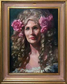 female model wears blonde 18th Century Wig with pink roses