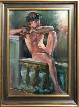 painting of nude male figure wearing laurel crown and playing a flute