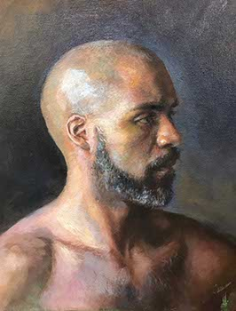 portrait painting of the profile of a bald bearded black man