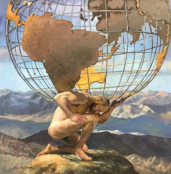 painting of a nude male figure kneeling while holding a giant globe