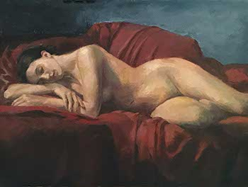 painting of reclining female nude on deep red fabric