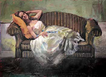 painting of a woman reclining in a white satin on a black striped love seat