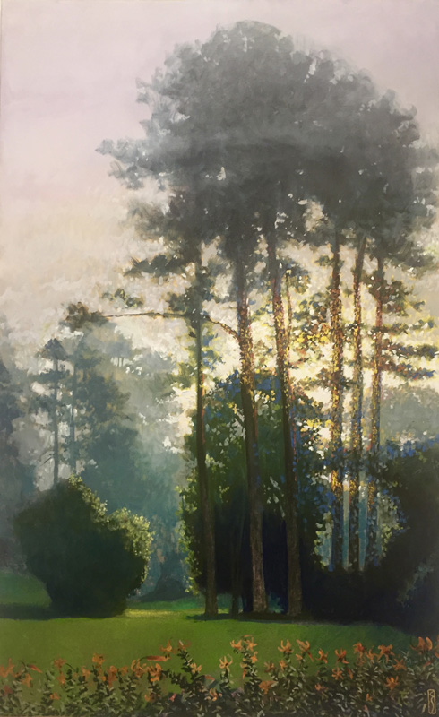 oil painting of backlit trees by Charles Scogins