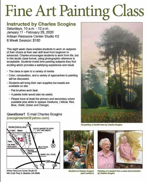flyer for Charles Scogins Fine Art Painting class