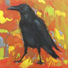 black raven painted agains orange background