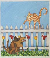 colorful cartoon illustration of dog below a cat on  pickett fence