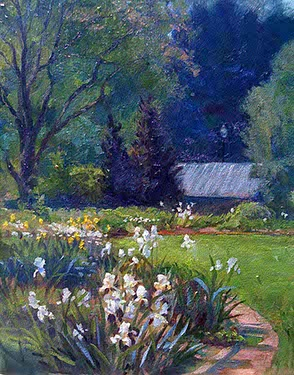 oil painting of a irises at Smith-Gilbert Gardens, Kennesaw, GA