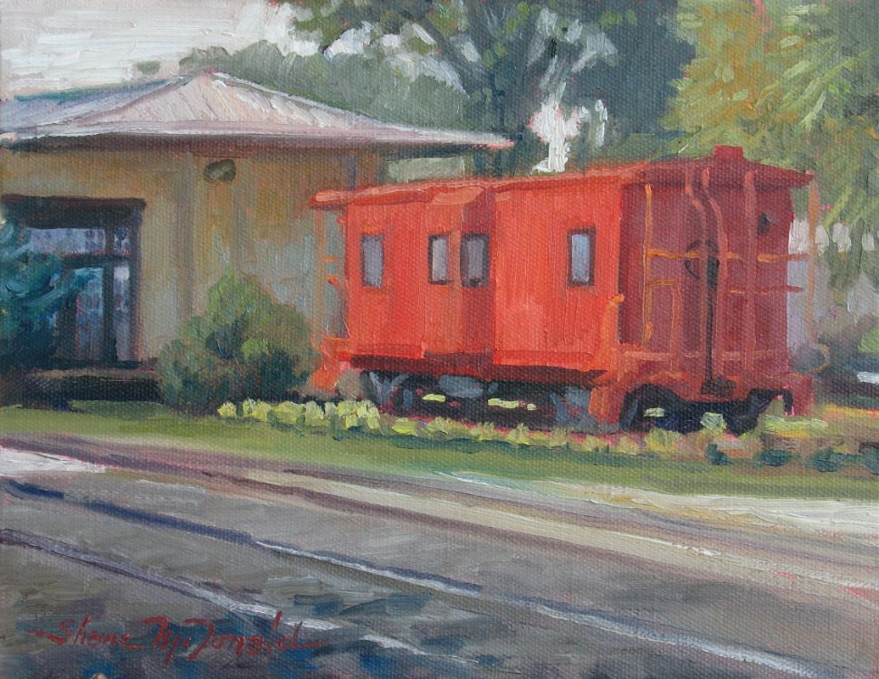 oil painting of a red caboose in Calhoun, GA