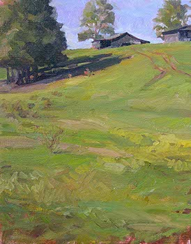 plein air painting of barns on top of a green hill