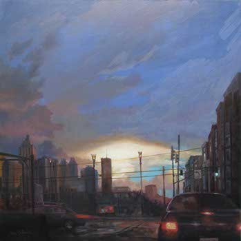 painting of a cityscape with storm clouds and tail lights of automobiles