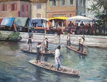 painting medieval fishermen standing on small boats of a French provencial stream in Isle sur la Sorgue