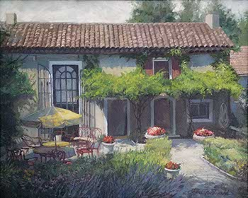 painting of a French farm house and its garden