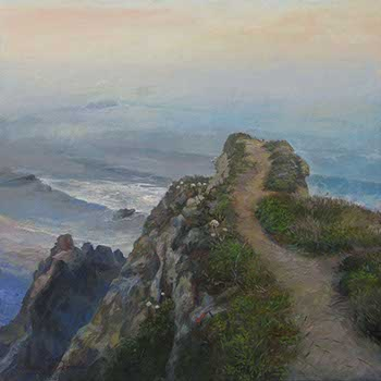 landscape painting of a walking path that leads to a Pacific cliff