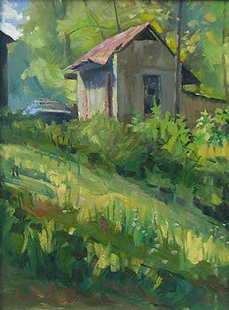 oil landscape of a wooded shack with tall green grasses in foreground