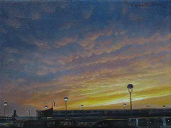 painting of sun setting on altocumulus clouds over Atlanta Airport
