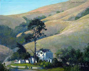 landscape painting of a white farmhouse before golden grassy mountains of Marin County, CA