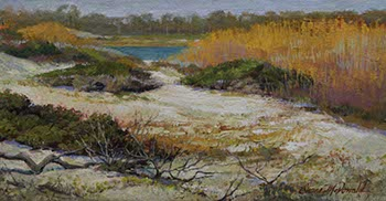 painting of white sand dunes with golden grasses and a bit of a blue water inlet from the Florida panhandle