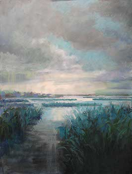 painting of marshlands on an overcast day using cool colors of green and blue