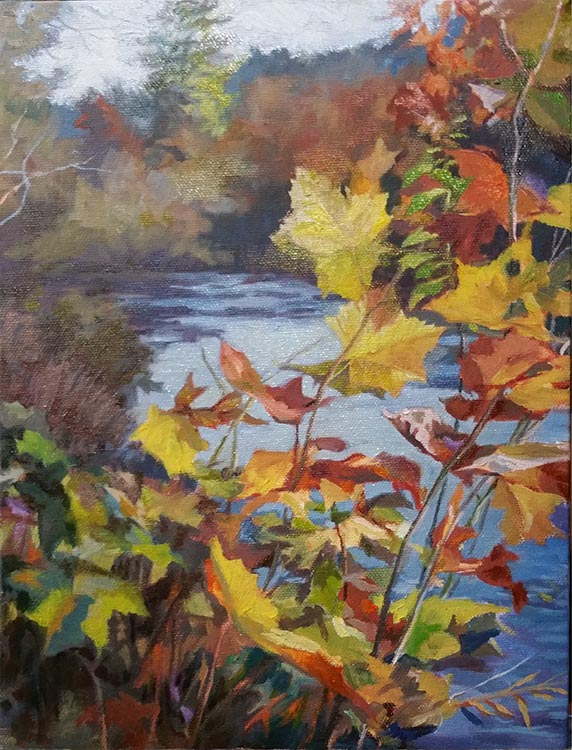 painting of autumn leaves before a river in a landscape