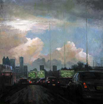 painting of light-filled storm clouds over an interstate highway with automobiles headed through Atlanta, GA