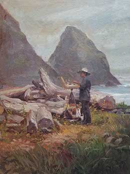 painting of a plein air painter at Arch Cape Beach