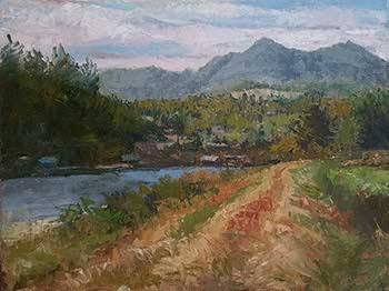 painting of a dirt vehicle path along the Nehalem River, OR
