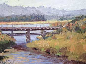 painting of a trestle before a wide river