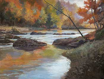 painting of a shallow river with boulders and autumn trees