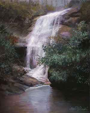 painting of a waterfall surrounded by rhododendrons and mountain laurel near Sapphire, NC
