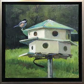 painting of a bird house and a Black-Crested Carolina Chickadee