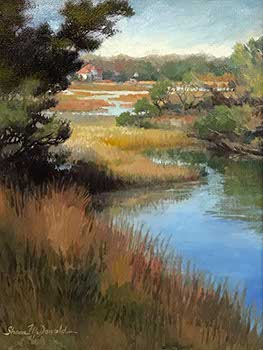 painting of marshes reflecting a blue sky and golden grasses in foreground