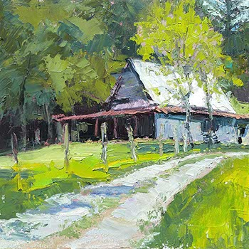 palette knife painting of a barn with foreground gravel driveway