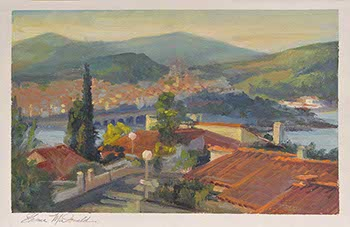 painting overlooking a Mediterranean village along the southern coast of France