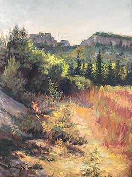 vertical painting of fields before distant mountains in Provence