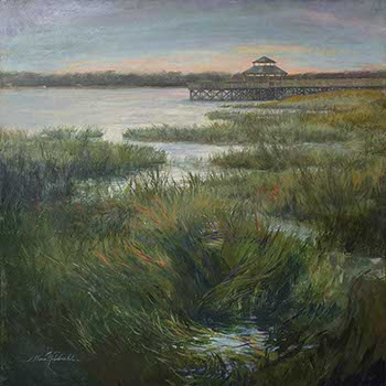 painting of marsh grasses dividing waters leading to a wooden dock