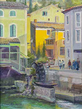 painting of a water wheel surrounded by old colorful buildings