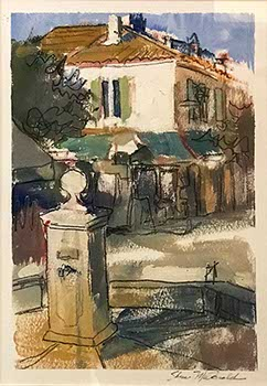 painting of old French architecture and a small village fountain