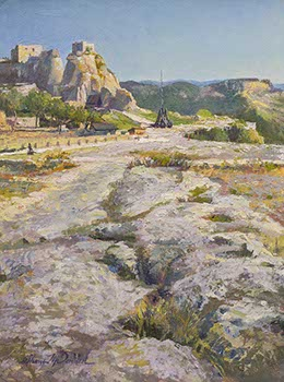 painting of foreground rock formation leading to an ancient fortress