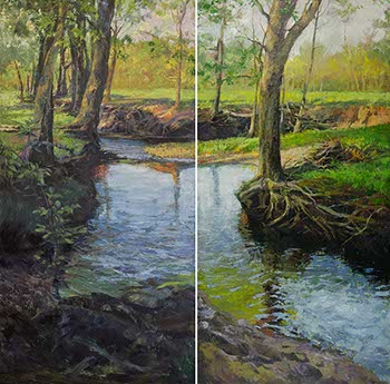 diptych painting of a stream lined with trees with exposed roots